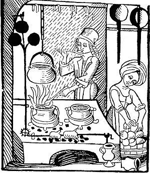 gravure : femmes en cuisine au Moyen Age